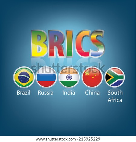 BRIC. Countries Buttons. Brazil. Russia. India. China. South Africa. - stock vector