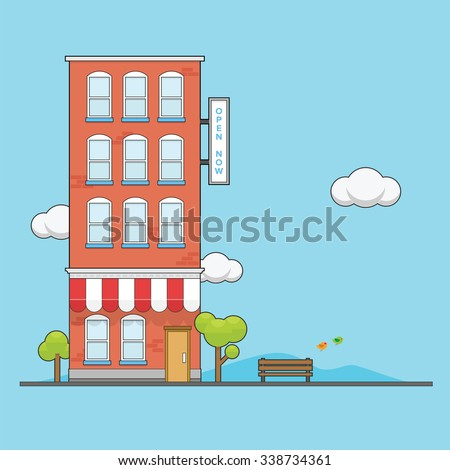 Brick Apartment Building With Cartoon Looks Vibrant Color
