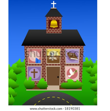 Brick church with Christian symbols in the windows. - stock vector