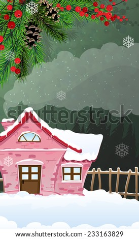 Brick cottage with a smoking chimney among pine forest. Abstract Christmas landscape - stock vector
