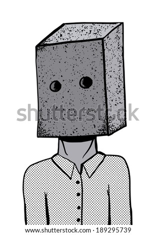 Brick face man - stock vector