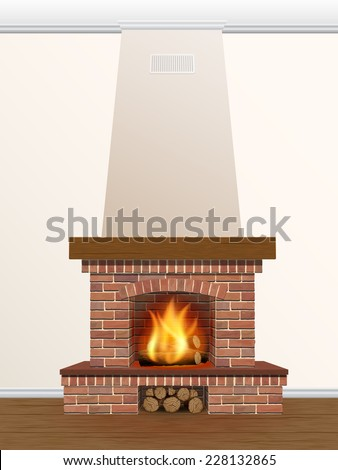 brick fireplace with fire and firewood - stock vector