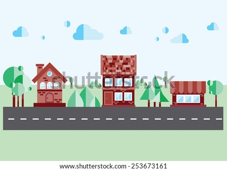 brick house on a blue background - stock vector