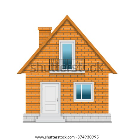 Brick house on white background. Vector illustration.