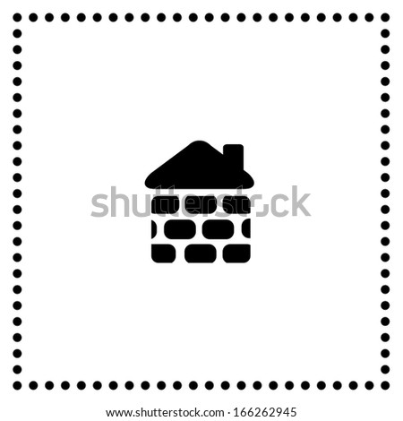 brick house symbol on white background - stock vector