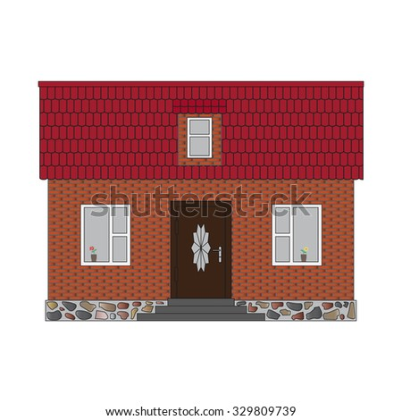 Brick house with mansard and tiled roof. Real estate design isolated on white background. Built small house for rental or for sale. Front elevation. Cute little vintage retro home. Rent-A-House Vector - stock vector
