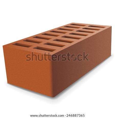 Brick on a white background. Vector illustration. - stock vector