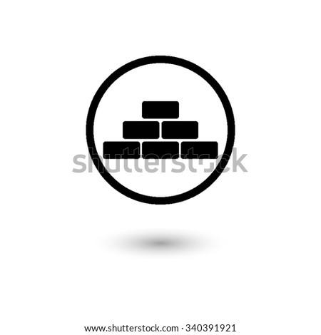 brick - vector icon with shadow - stock vector