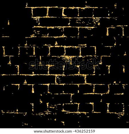 Brick wall gold texture pattern. Golden and black abstract decorative tile background. Grunge retro surface. Old brickwork silhouette. Urban design for wallpaper, card, decoration. Vector Illustration - stock vector