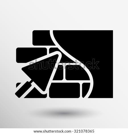 Brick wall icon trowel icon button logo symbol concept. - stock vector