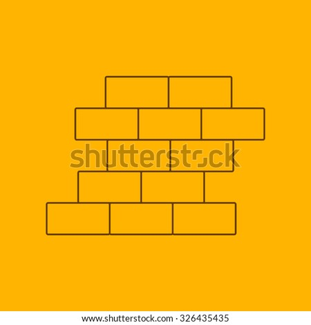 Brick wall line icon, thin contour on yellow background - stock vector