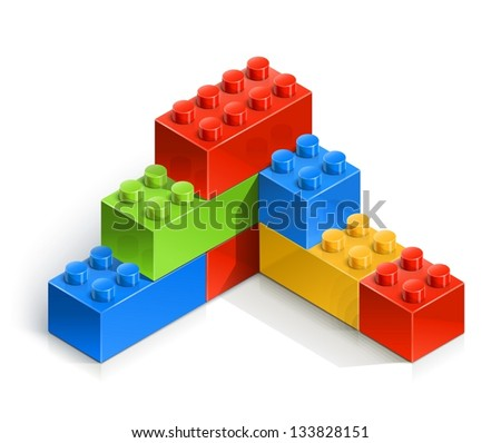 brick wall meccano toy vector illustration isolated on white background EPS10. Transparent objects and opacity masks used for shadows and lights drawing - stock vector