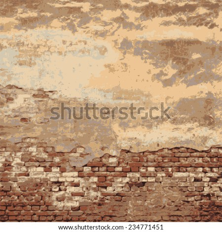 brick wall of an old house. grunge texture. abstract background. vector illustration. - stock vector
