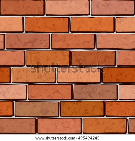 Brick wall seamless vector pattern. Red walls with texture