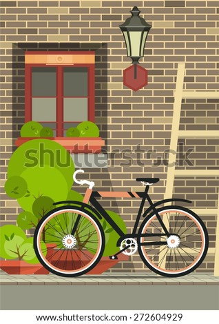 brick wall with a window beside him flowers in pots and the charge of stairs standing next to the bike - stock vector