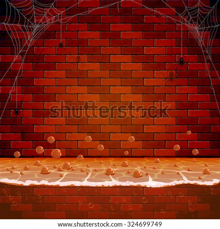 Brick wall with spiders and spiderweb in the sewerage system, illustration. - stock vector