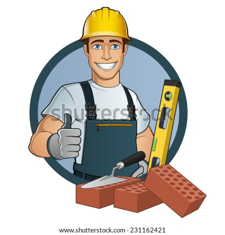 Bricklayer with different tools, cartoon vector