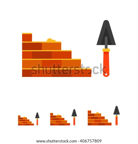 Bricklaying and trowel - stock vector