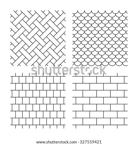 Bricks, tile roof and mosaic seamless textures. Linear geometric patterns. Modern textures. Textures on white background. Vector - stock vector