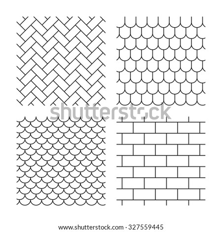 Bricks, tile roof and paving stone seamless textures. Linear geometric patterns. Modern textures. Textures on white background. Vector - stock vector