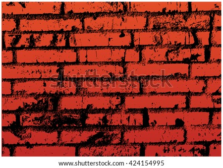 Bricks Wall.Color Vector Illustration of Old Rough Brickwall.
