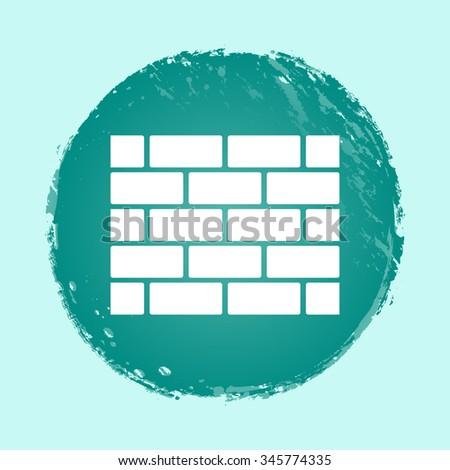 bricks wall vector icon on round button - stock vector