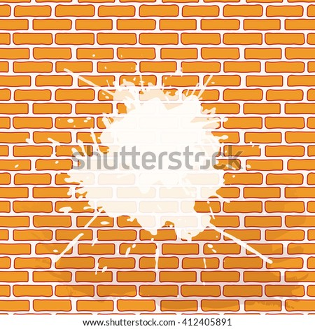 brickwork with white paint blot and spray. vector eps 10