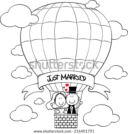 bridal couple on hot air balloon cartoon isolated on white background, ideal for funny wedding invitation - stock vector