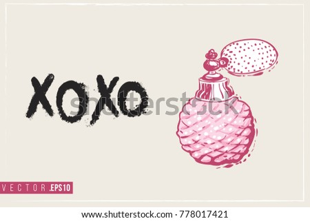 Bridal greeting card french perfume text stock vector hd royalty bridal greeting card with french perfume and text xoxo tender pink composition for wedding stopboris Image collections