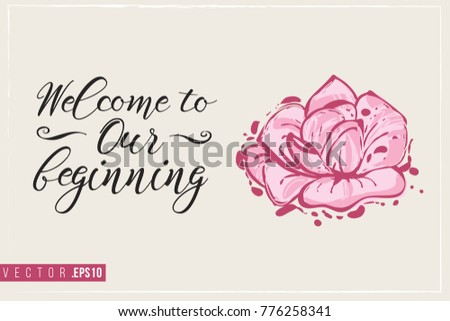 Bridal greeting card rose text welcome stock vector hd royalty free bridal greeting card with rose and text welcome to our beginning tender pink composition m4hsunfo