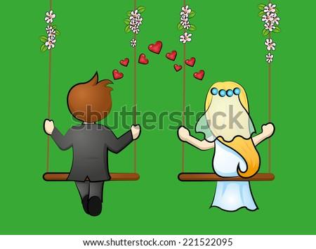 bridal pair - stock vector
