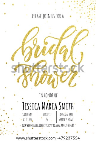 Bridal Shower Invitation Card Template Classic Stock Vector