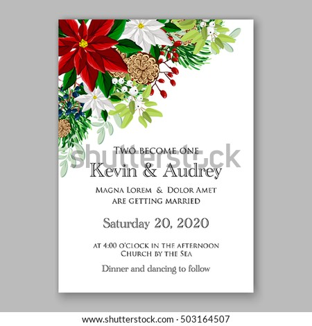 Bridal shower invitation card template winter stock vector 503164507 bridal shower invitation card template with winter bridal bouquet wreath flower poinsettia merry christmas party invitation filmwisefo