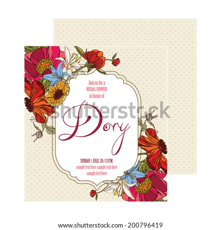 Bridal shower invitation card with flowers vector eps10 - stock vector