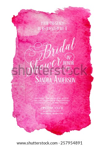 Bridal shower invitation card with red watercolor frame. Vector illustration. - stock vector