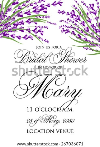 Bridal Shower invitation card with vintage watercolor lavender. Watercolor.Vector illustration. Illustration for greeting cards, invitations, and other printing projects. - stock vector