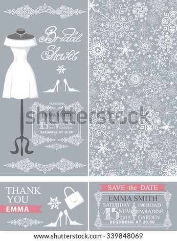 Bridal shower invitation set.Bridal wedding dress.Winter season snowflakes lace pattern,borders,frames,lettering,retro design.Save the date card,thank you card.Holiday Vector,fashion illustration - stock vector