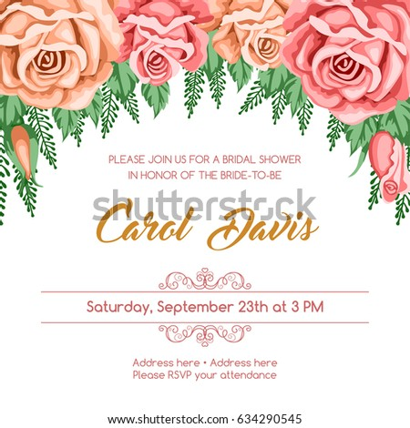 Bridal shower invitation template flowers vector stock vector bridal shower invitation template with flowers vector illustration in retro style filmwisefo Image collections