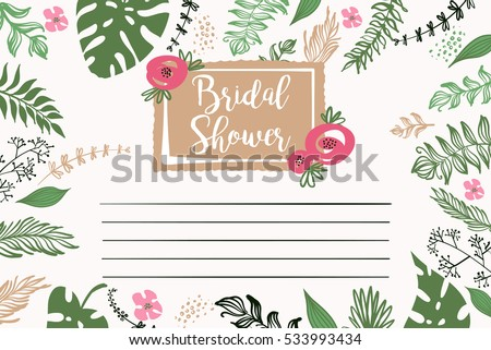 Bridal shower vector template invitation text stock vector 533993434 bridal shower vector template invitation with text please join us and floral background stopboris Choice Image