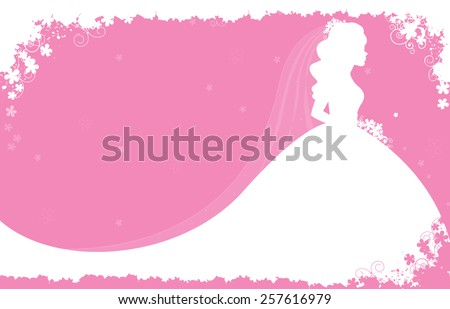 Bridal shower / wedding invitation card background with a beautiful bride with flowers on soft pink floral background - stock vector