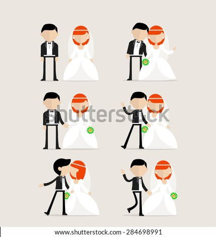 Bride and groom as design elements in one image - stock vector