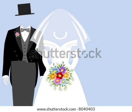 Bride and Groom - Blue background - stock vector