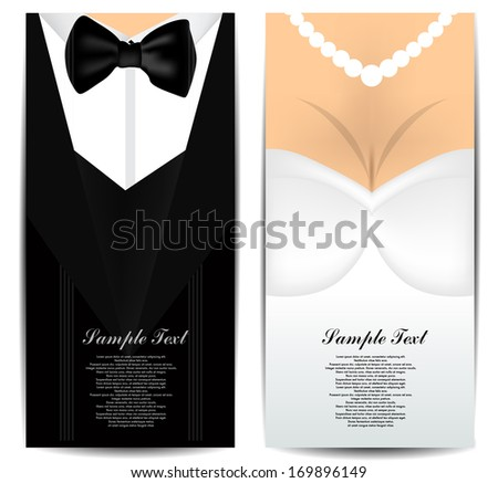 Bride and Groom business cards - stock vector