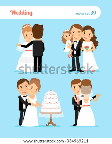 Bride and groom characters for wedding invitation - stock vector