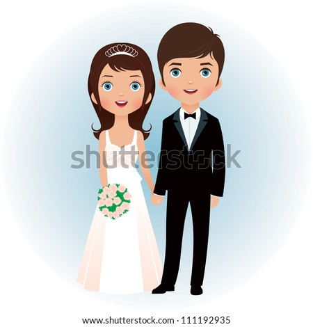 Bride and groom holding hands/ Groom and bride - stock vector