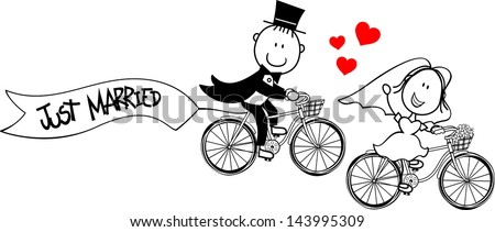 bride and groom on bycicles isolated on white background, ideal for funny wedding invitation, vector format very easy to edit, individual objects - stock vector