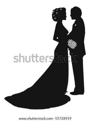 Bride and groom on white background - stock vector