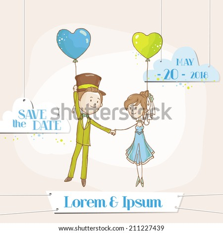 Bride and Groom - Save the Date Wedding Card - in vector - stock vector