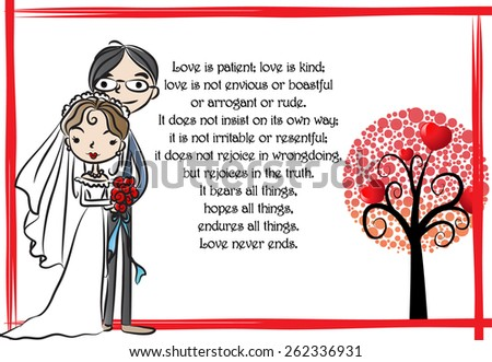 bride and groom say: Love is patient - stock vector