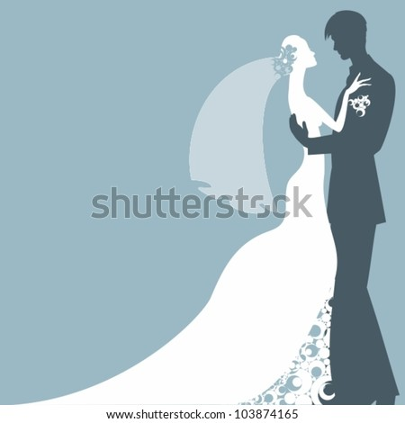 Bride and Groom Silhouettes - stock vector